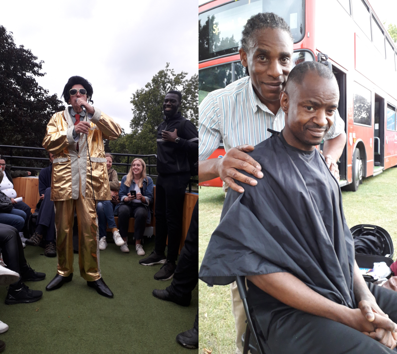 At StreetFest Elvis lookalike (left) delighted all singing Are you lonesome tonight? on London's buses4homeless. Mojo (right) from Groove Groom & Grub shaved heads and beards. Here he's with Mel who does fundraising runs for Streets Kitchen. Other highlights: the BBQ, music, poetry and nail bar. © Pavement
