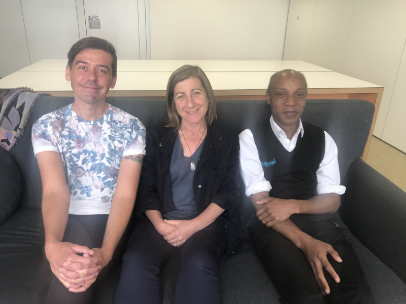 The writers (l-r): Andrew Knee, Palliative Care Coordinator, St Mungo's; Dr Caroline Shulman who works in homeless health with Pathway Charity, University College London & King's and Julian Daley, who has been homeless, and is now a Care Navigator, Pathway. © AK