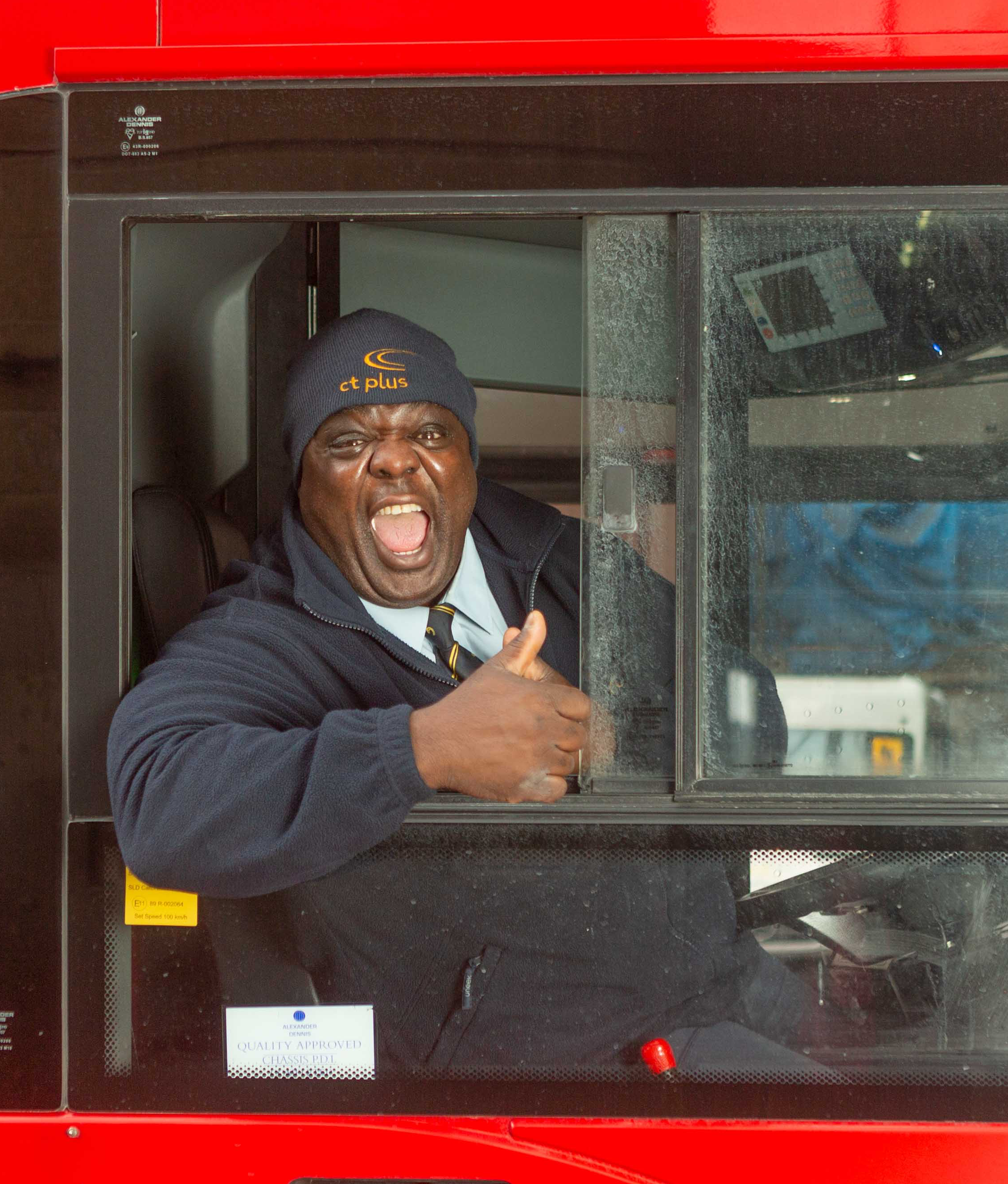 Patrick Lawson: officially London's happiest bus driver. © Kimi Gill