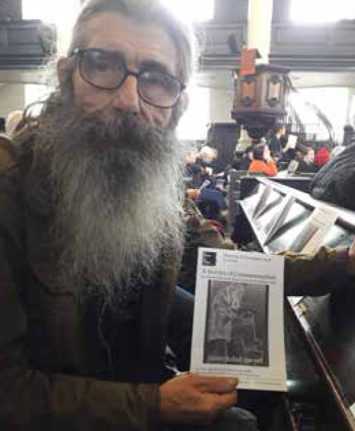 Never failed me yet: It took half an hour to read out the names of all the people who've died this year in London while homeless or insecurely housed at the November 2018 Service of Commemoration. The final list was 165, up yet again (in 2017 it was 70). Photo is of Don Pollard, at St Martinin- the-Fields, whose art was used for the service sheet. The national press ignored this story, focusing instead on Brexit resignations. © the Pavement