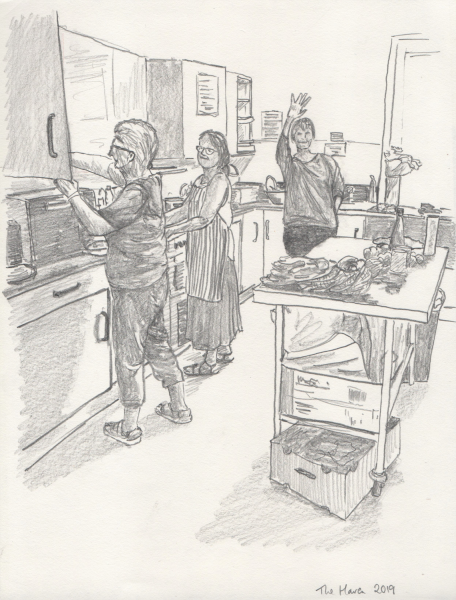 "© David Holmes-Brown   In the kitchen with David Holmes-Brown: ""I am a reportage artist living in Devon. I have been drawing people who are homeless and vulnerable in and around Torbay for a few years now. This was drawn at The Haven, a tiny charity in Paignton open three mornings a week. See www.haventorbay.co.uk"