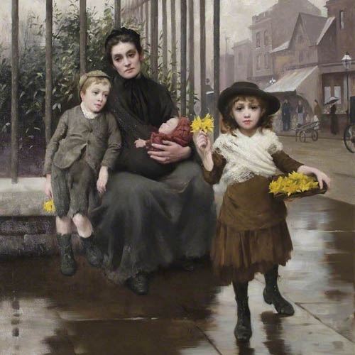 The Pinch of Poverty, by Thomas Benjamin Kennington, oil on canvas, 1891. © Coram in the care of the Foundling Museum