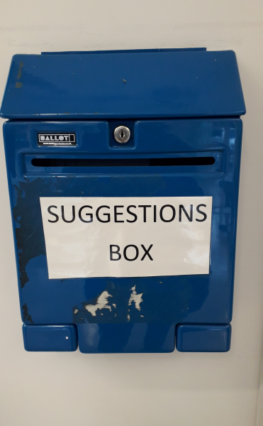 Ok to complain: Leave feedback in a suggestion box if you don't want to make an official complaint. ©Pavement